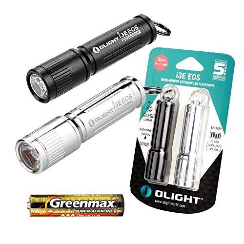 Olight® i3E EOS Torcia Portachiavi con batteria ricaricabile AAA e LED CREE - 90 lumens, Lente TIR, impermeabile, 1 Ora di Autonomia, Colore Argento e Nero Serie