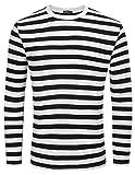 T Shirt Camicia da Uomo Mariner Maglietta a Righe Tshirt Manica Lunga Stretch Collo Tondo Taglia L Nero 1#