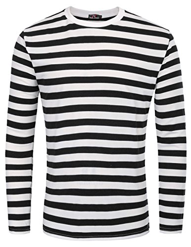 Camiseta Casual con Cuello Acanalado a Rayas para Hombre, Talla M, Negra, Estrecha