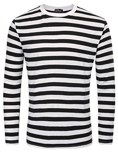 Camiseta Casual Cuello Acanalado Rayas Hombre, Talla