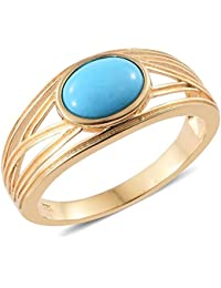 Sleeping Beauty Turquoise Solitaire Ring in 14K Gold Overlay Sterling Silver 1.5 Ct