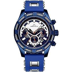 Montre Homme Montres Etanche Militaire Chronographe Grand Cadran Sport Design Bleu Date Montre pour Homme Bracelet Caoutchouc Mode Lumineuses
