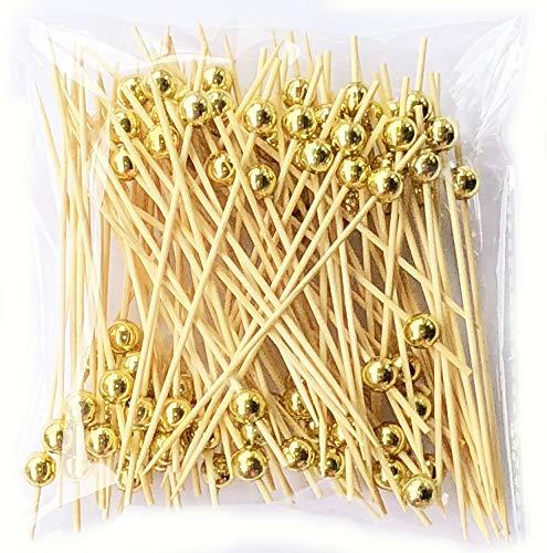 LMing Cocktail-Sticks 100 zählt hölzerne zahnstocher Partei liefert rüschen Finger Essen früchte Sandwich knabber - Gold perlen Gold-frucht