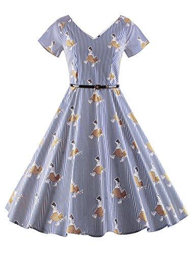 LUOUSE 40s 50s 60s Vintage V-Ausschnitt Schwingen Rockabilly Pinup Ballkleid Partei Kleid V108-Brown