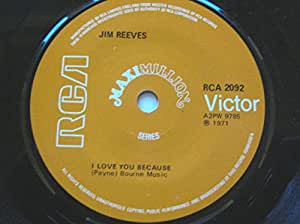 """Jim Reeves I Love You Because/He'll Have To Go/Moonlight And Roses 7"""" RCA Victor RCA2092 EX 1971 Maximillion Series"""