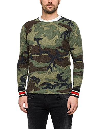 Replay Herren Pullover UK1612.000.G22458, Grün (Camouflage 10), Medium (Herren-pullover Alpaka-wolle)