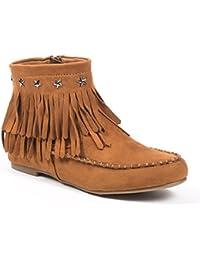 Ideal Shoes - Bottines à franges effet daim style indien ornés d'étoiles Divana
