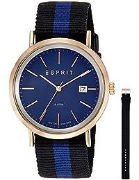 Esprit Herren-Armbanduhr ES-ALAN ROSE GOLD Analog Quarz Leder ES108361003