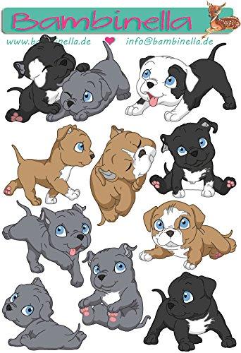 Bambinella© Stickerparade - 10 Sticker - Motiv: Hund Pit Bull Terrier - Pitbull- gefertigt in eigener Werkstatt in Neuhof/Deutschland - Bull Spielzeug Pit
