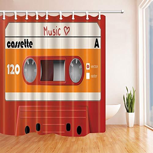 AdaCrazy Orange Music Box Hintergrundmuster Duschvorhang 3D-Druck Wasserdicht beschichtetes Bad aus Polyestergewebe mit 12 Haken 71 Zoll Orange Music Box