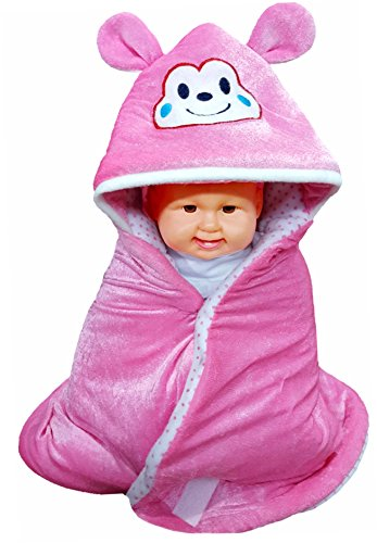 BRANDONN BABY PINK Premium Quality Velvet Shearing Hooded Baby Blanket Cum Sleeping Bag.  available at amazon for Rs.199