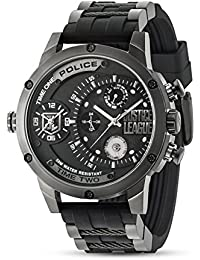Police Justice League Limited Edition Multi Function Black PVD Stainless Steel Case with Rubber Strap Men's Quartz Watch 14536EDG
