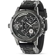 Policía Liga de la justicia Edición limitada Multi Función Negro PVD Acero inoxidable con correa de caucho–Reloj de cuarzo para hombre 14536edg