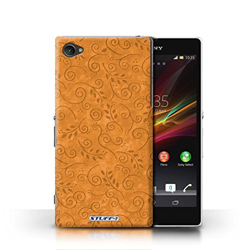 Kobalt® Imprimé Etui / Coque pour Sony Xperia Z1 Compact / Rose conception / Série Motif Feuille Remous Orange