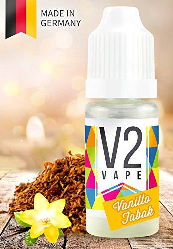 V2 Vape E-Liquid Vanillo Tabak ohne Nikotin - Luxury Liquid für E-Zigarette und E-Shisha Made in Germany aus natürlichen Zutaten 10ml 0mg nikotinfrei