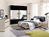 Schlafzimmer Komplett - Set D Volos, 5-teilig, Farbe: Eiche Sonoma / Schwarz Hochglanz