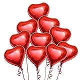 Pixnor Dekoration Luftballons rotes Herz Folie Helium-Ballons - 10 Stücke