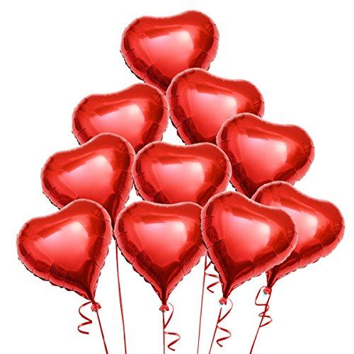 Pixnor Dekoration Luftballons rotes Herz Folie Helium-Ballons - 10 Stücke (Herz Paket)