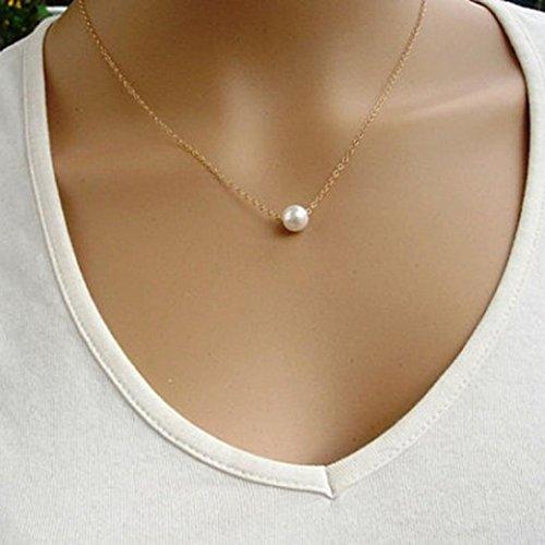 Kette Schmuck Halskette Damen DAY.LIN Frauen Fashion Simple Nachahmung Perle Bib Choker Aussage Kragen Halskette (Gold)