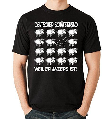 Siviwonder Unisex T-Shirt BLACK SHEEP - DEUTSCHER SCHÄFERHUND - Hunde Fun Schaf Schwarz