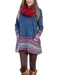 Minetom Las Mujeres Otoño Invierno Bohemia Jerséis Vestir Cuello Redondo Manga Larga Tops Largo Jersey Sudadera Vestidos Dress