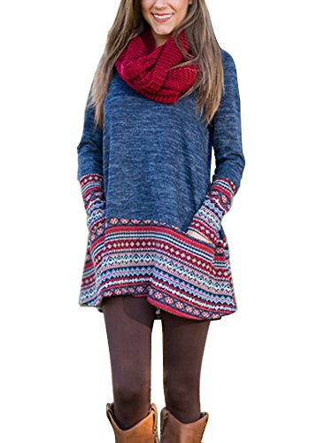 Minetom Damen Frauen Boho Strickpulli Pullover Kleid Rundhals Langarm Lose Geschnitten Gestrickte Casual Lang Strickpullover Tops Sweater Blau DE 38 (Golf Strickpullover)