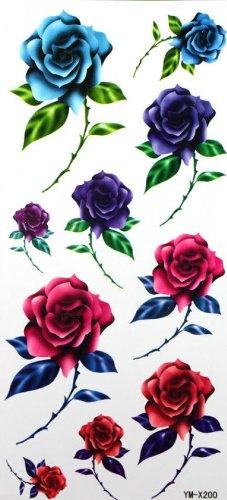 Fleur sexy couleur étanche tatouage autocollants fleurs