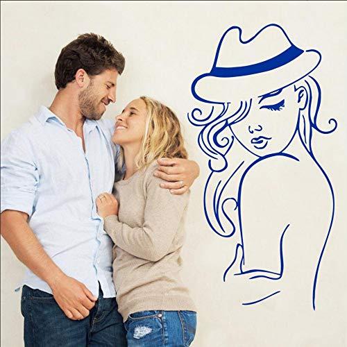cmdyz Sexy Frau Mit Hut Schönel WanddekorationHaarschnittKunstl Decals Aufkleber Modischl Poster 109 * 56 cm
