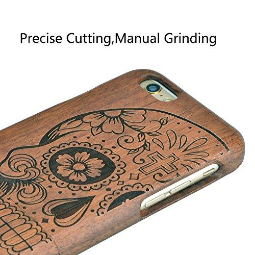 iPhone 8/iPhone 7 Vero Legno Wooden Case Cover, Vandot Advanced Legno Naturale Bamboo Wood Back Cover Nero Opaco PC Bumper Caso Shell Per iPhone 8/iPhone 7 4.7 Pollici - Carved Cranio style 12