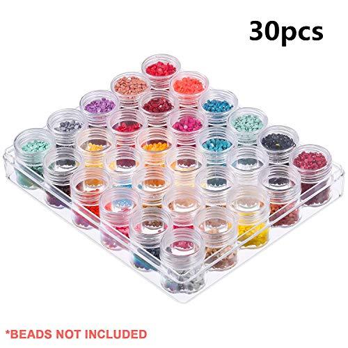 Contenitori per perline, espositore per perline, 30 barattoli in plastica trasparente con coperchio e scatola per gioielli, diamanti, orecchini, perline, collane, altri piccoli oggetti
