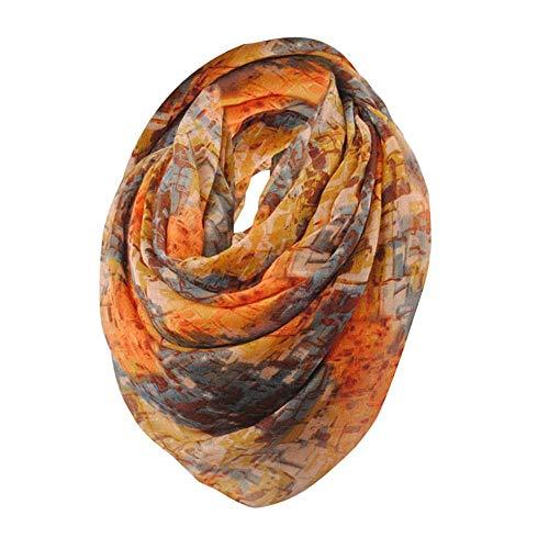 YEBIRAL Damen Schal Oversized Ganzjährig multifunktional Blumendruck Voile Tücher Deckenschal Halstuch Schals(Orange)