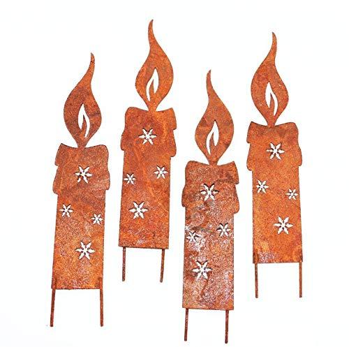 RiloStore 4er Set Rost Flamme Kerze Metall Gartendeko Kerzen Dekostecker rostige Weihnachtsdeko Metallkerzen Rostkerzen Deko Rostbraun