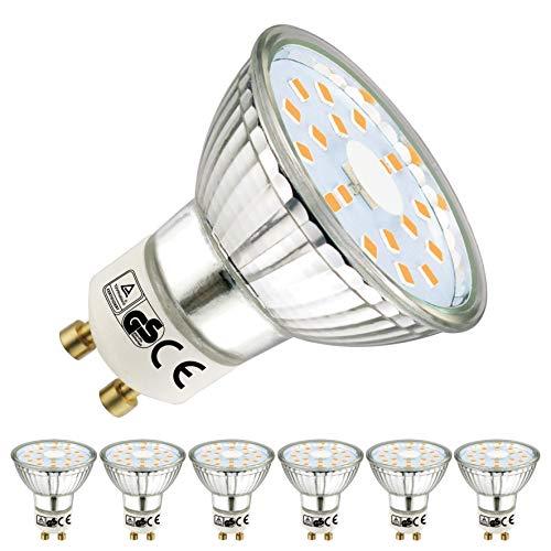 EACLL Gu10 Led Warmweiss 5W Leuchtmittel 2700K 450 Lumen Birnen Ersatz 50W Halogenlampe, 6 Pack