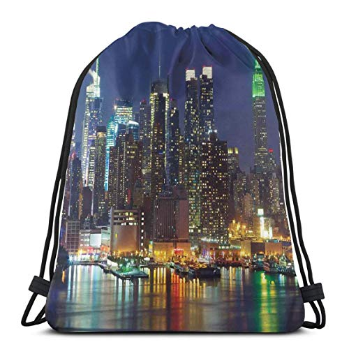 Printed Drawstring Backpacks Bags,NYC Midtown Skyline In Evening Skyscrapers Amazing Metropolis City States Photo,Adjustable String Closure
