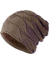7a55bf669d9f UMIPUBO Bonnet à Rayures Diagonales Automne et Hiver Chapeaux Mode Tricotés  Chaud Doublure en Polaire Hats Chapeau Beanie pour…