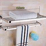 Willsego Handtuchhalter Edelstahl-Handtuchhalter 304 Badezimmer Einbauschrank 2-Tier-Badetuchhalter (Farbe : Thick Brushed 60cm)