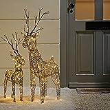 2er Set LED Rentiere Weihnachtsfiguren Rattan Optik 83 und 60cm Außenbereich Lights4fun