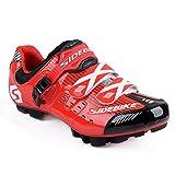 WIN Herren Atmungsaktive Freizeit Carbon Fahrrad Schuhe mit Nylon-Sohle oder Tpu-Sohle für Road und MTB. Red for MTB 43