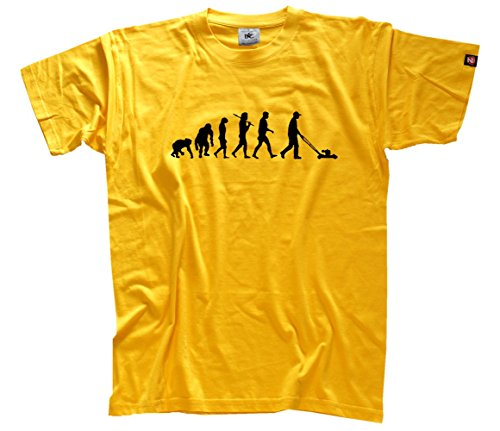 Shirtzshop–Maglietta da uomo evoluzione, edizione standard tosaerba piccole porzioni, Uomo, Standard Edition Rasenmäher Kleingärtner Evolution T-Shirt  XXXL, bianco, XXXL giallo