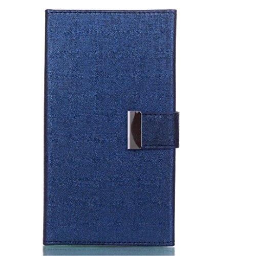 Cross Lines Texture Dreifach Typ PU Leder Brieftasche Case mit freistehenden TPU Back Cover Card Slots für Samsung Galaxy J7 2017 ( Color : Blue ) Blue