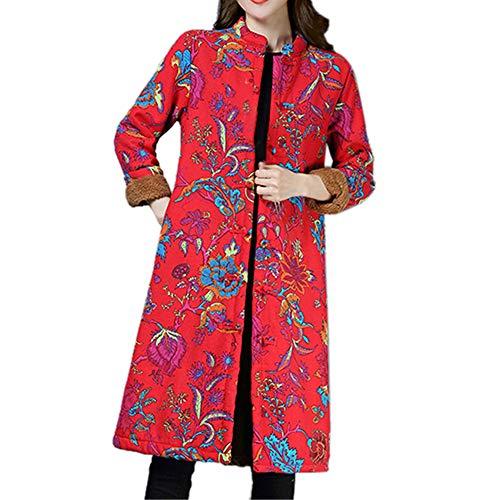 SEWORLD Winterjacke Steppjacke Mantel Damen Heißer Einzigartiges Design Folk-Custom Drucken Buttons Baumwolle Outwear Warme Lange Dicke Jacke Parka(Rot,EU:38-40/CN:L) - Tweed Duffle