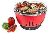 Medion MD 17700Barbacoa de carbón con ventilación activo, ventilador regulable, regulador de temperatura, parrilla de acero inoxidable, fettauffangschale separable, color rojo