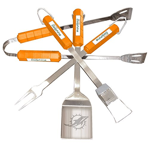 51yCkpr5ScL. SS500  - Siskiyou NFL Miami Dolphins 4-Piece Barbecue Set