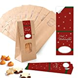 10 Stück kleine braune Block-Bodenbeutel MIT FENSTER + Pergamin-Einlage 10,5 x 6,5 x 29 cm + 10 rot weiß grüne FROHE WEIHNACHTEN Weihnachts-Aufkleber - Papiertüten lebensmittel-echt