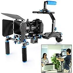 Neewer® Kit de Película Cine Aluminio Sistema de Aparejo para Canon/Nikon/Pentax/Sony y otras DSLR Cámaras, incluye:(1)Jaula de Vídeo+(1)Apretón de Manija Superior+(2)15mm Varilla+(1)Caja mate+(1)Seguidor de foco+(1)Aparejo de Hombro
