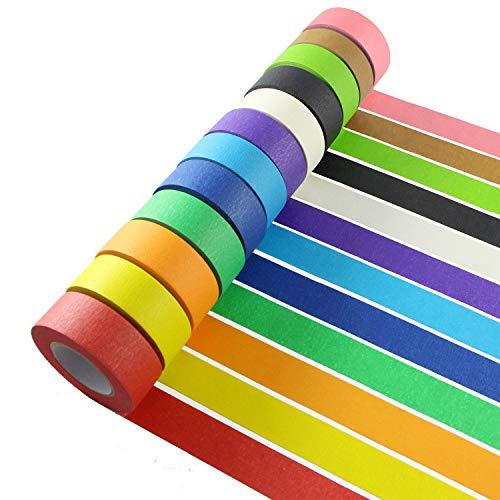 Farbiges Klebeband, dekorativ, beschreibbar, bunt, für Kunst und Handwerk, Beschriftung oder Codierung, 20 m S 12p