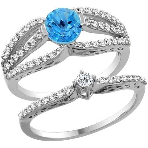 Revoni-Bracciale in oro bianco, 14 carati, con topazio blu Svizzera-Set di 2 anelli di fidanzamento, 5 mm
