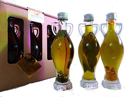 Luxury Infused Extra Virgin Olive Oils Gift Set - Rosemary, Garlic, Bay Leaf & peppercorns