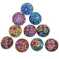 Souarts Mixte Bouton à Pression pour Bracelet Motif Fleur Rhinestone Rond Multicolore Lot de 12pcs