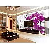 zxwd 3D Papier Peint Photo Papier Peint Personnalisé Salon Papillon Orchidée Fleur dans l'eau 3D Peinture Canapé TV Fond Papier Peint pour Mur 3D-120X100 Cm